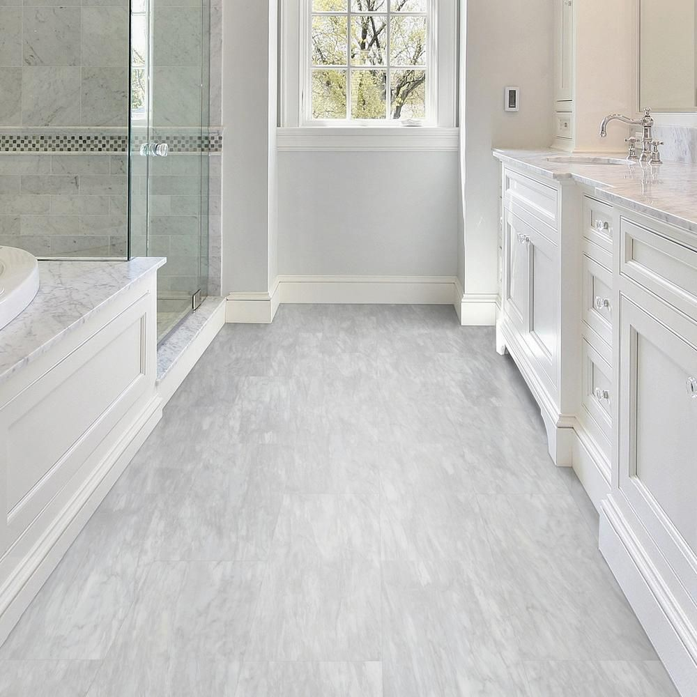 Trafficmaster Allure 12 In X 24 In Light Carrara Luxury Vinyl Tile Flooring 24 Sq Ft Case 64811 The Home Depot Luxury Vinyl Tile Luxury Vinyl Tile Flooring Luxury Bathroom Tiles