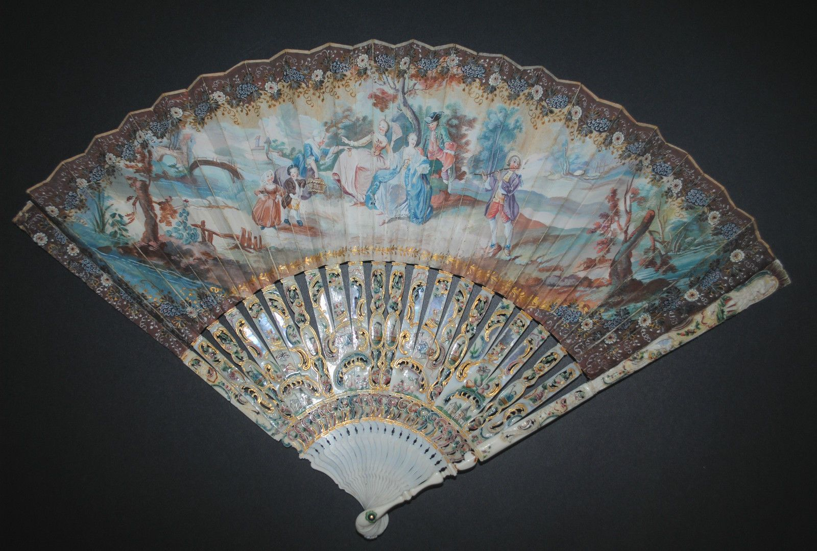 FINE QUALITY ANTIQUE FRENCH 18TH HAND PAINTED FIGURAL SCENE LOUIS XV FAN | eBay