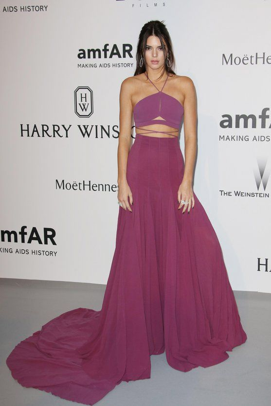 At AMFAR's 22nd Cinema Against Aids Gala in Cannes, France, May 2015. We love that Kendall has been experimenting with a bit more color recently—this purple Calvin Klein is bright, breezy, and perfect for the South of France.