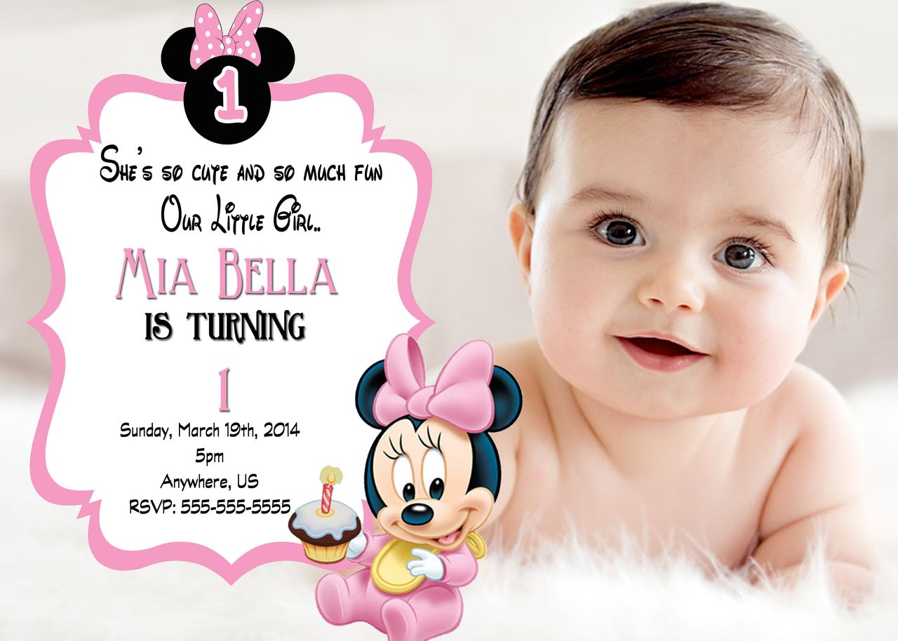 Baby Minnie Mouse 1st Birthday Invitation – Birthday Invitation Cards for Baby Girl