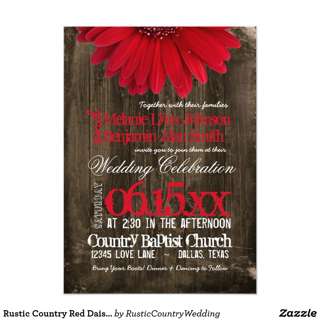 Rustic Country Red Daisy Wood Wedding Invitations | Best Invitations ...