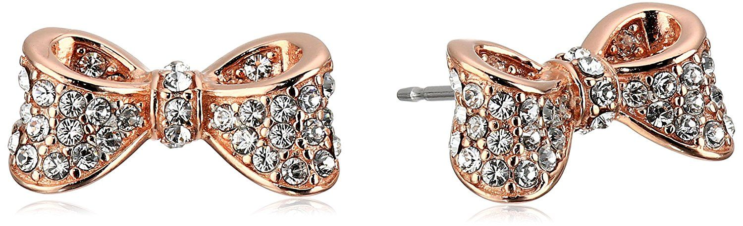 Rose Gold And Rhodium Plated Sterling Silver White Swarovski Crystal Bow Tie Ribbon Stud Earrings Check This Awesome Product By Going To The Link At