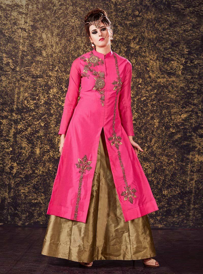 Pink silk center slit readymade long choli lehenga long