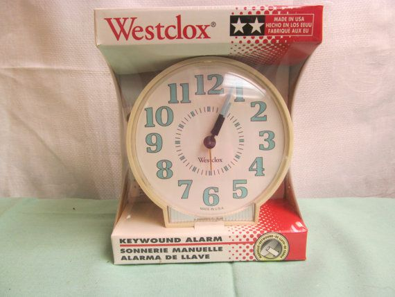 Vintage Westclox keywound alarm clock- original packaging =- this is the clock I have, Now I just need a key.