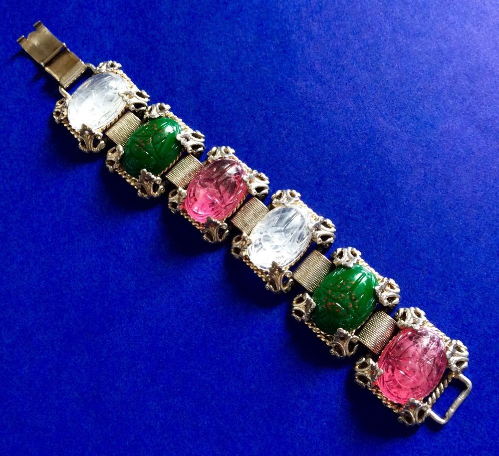WOMEN Vintage Green Fuchsia Clear Stones Silver Tone Bracelet Fashion Jewelry #Unbranded #Statement
