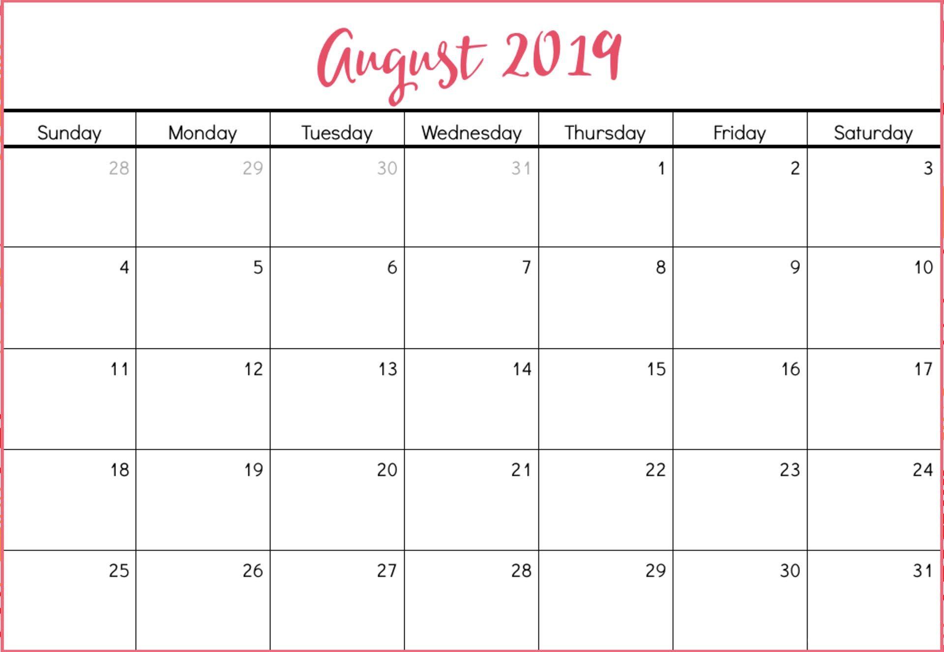 Cute August 2019 Calendar Printable August Calendar Calendar
