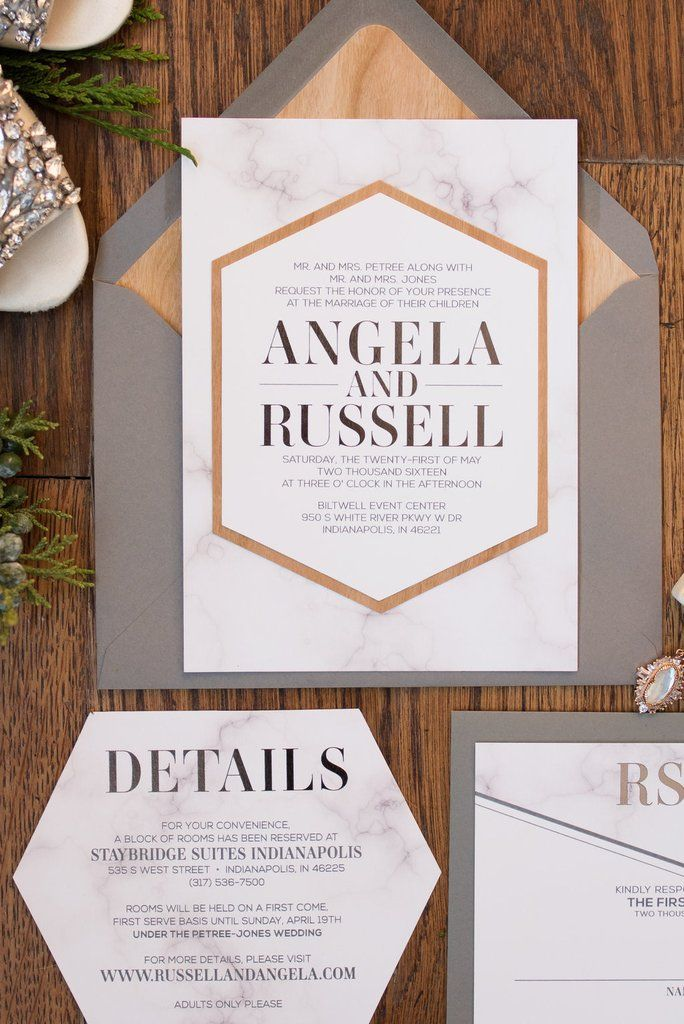 modern wedding invitation samples%0A ANGELA Suite Fancy Geometric Package  industrial wedding ideas  modern  wedding invitations  die cut