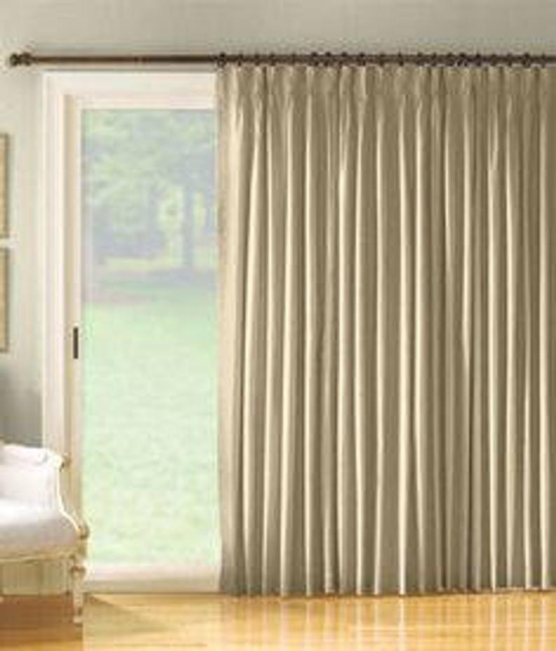 Sliding Glass Door Curtains Patio Door Curtains Sliding Door Curtain French Door Curtains Pinch Pleated Drapes Grommet Panels Wide In 2020 Glass Door Curtains Door Coverings Patio Door Curtains
