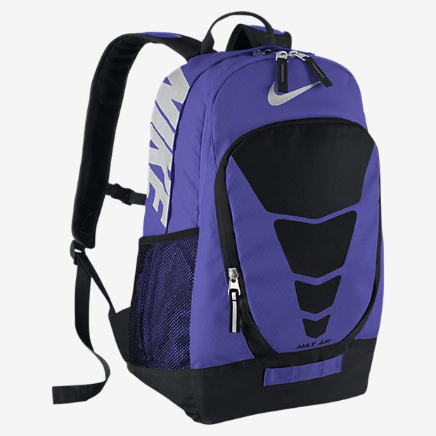 nike max air unisex vapor backpack book bag purple-neon green