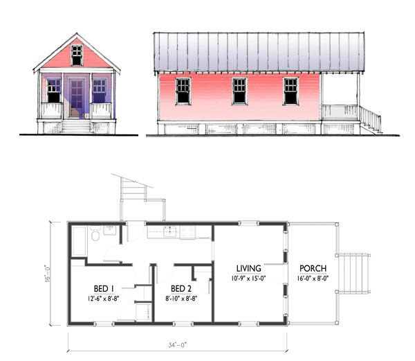katrina cottage floor plans | plans not to scale. drawings are