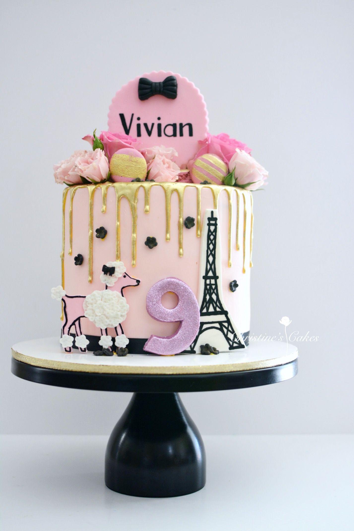Paris Themed Birthday Cake Parisian Cake Pin And Gold Drip Cake