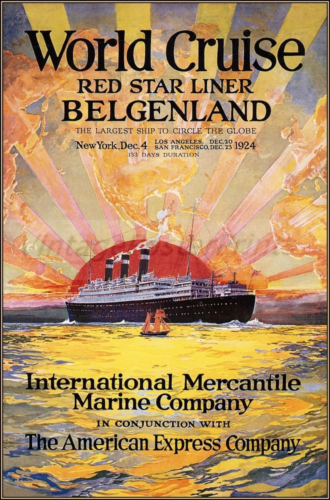 Red Star Line Belgenland 1924 Vintage Poster http://stores.ebay.com/Vintage-Poster-Prints-and-more