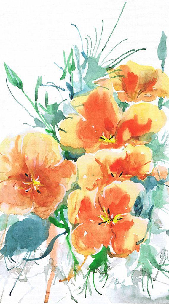 Poppy painting art print watercolor California poppy by ...