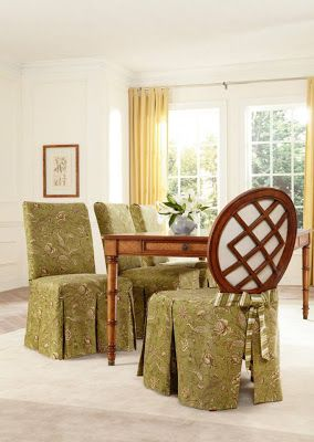 dining room chair slipcovers floral design | Design Matchmaker: Florals and Stripes Look Better ...