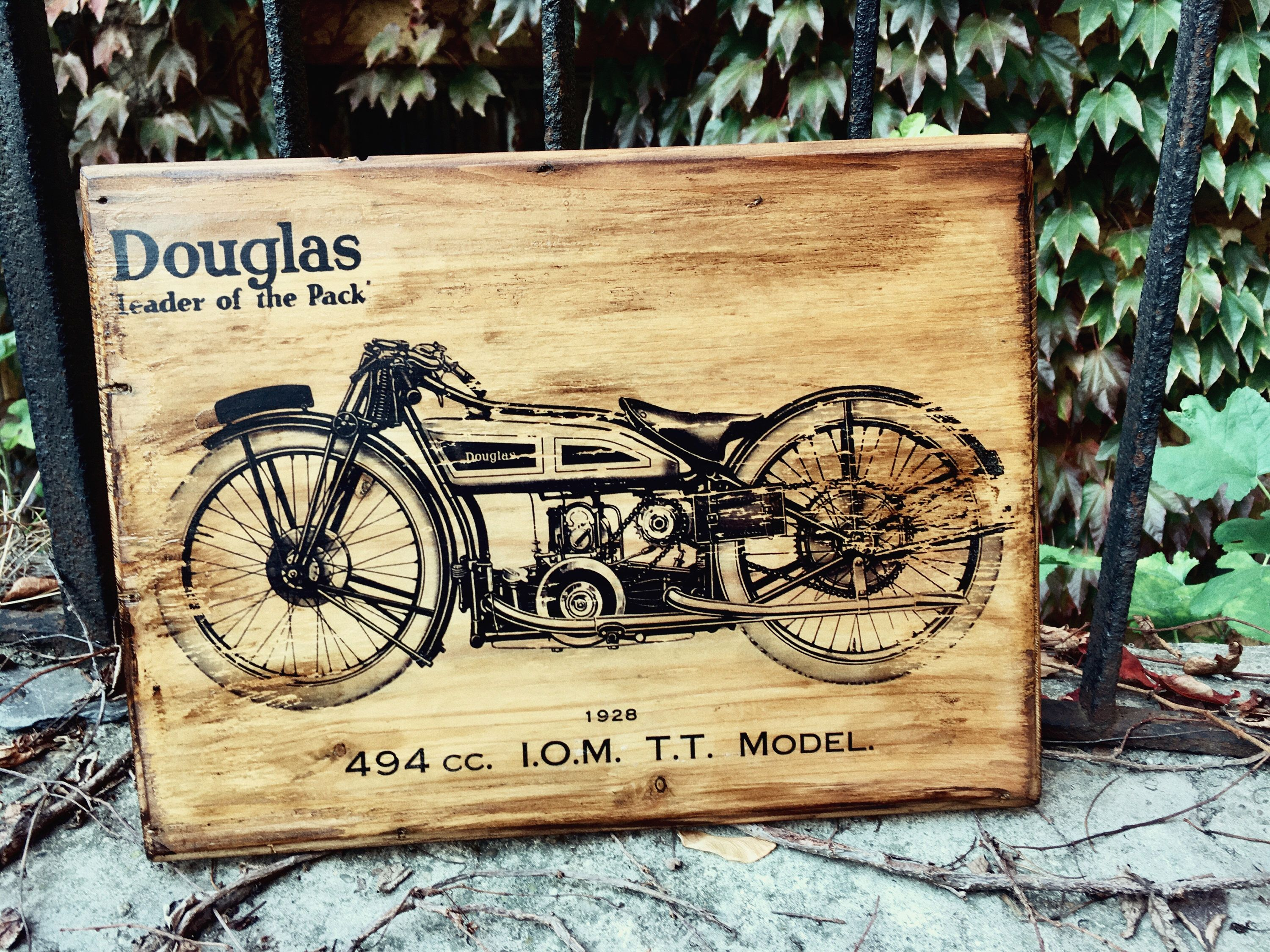 Vintage Douglas Motorcycle with flat tank from 1928 Wooden Picture ...