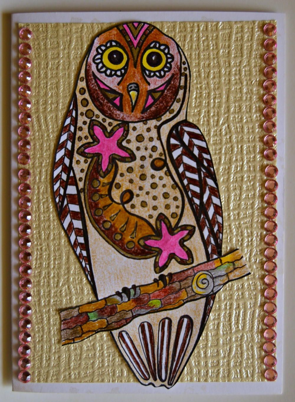Bejeweled Owl Homemade Birthday Card Homemade Birthday Cards Card Design Handmade Owl Coloring Pages