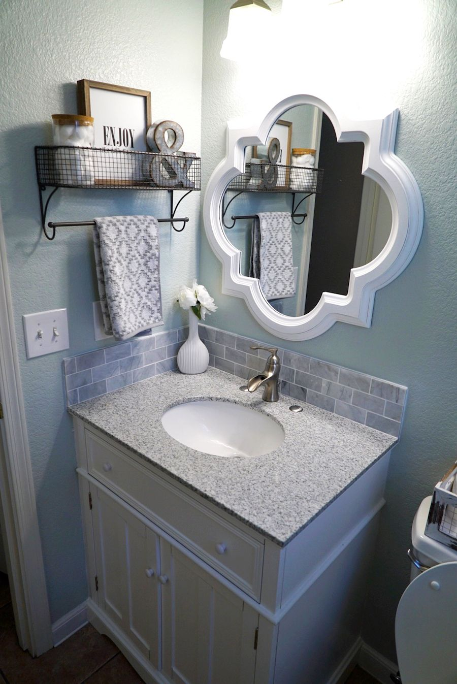 Guest Bathroom Makeover | Bathroom Decor | Sea Salt By Sherwin Williams |  Grey Granite Countertop | White Grey Vanity | Quatrefoil Mirror | Hanging  Shelf ...