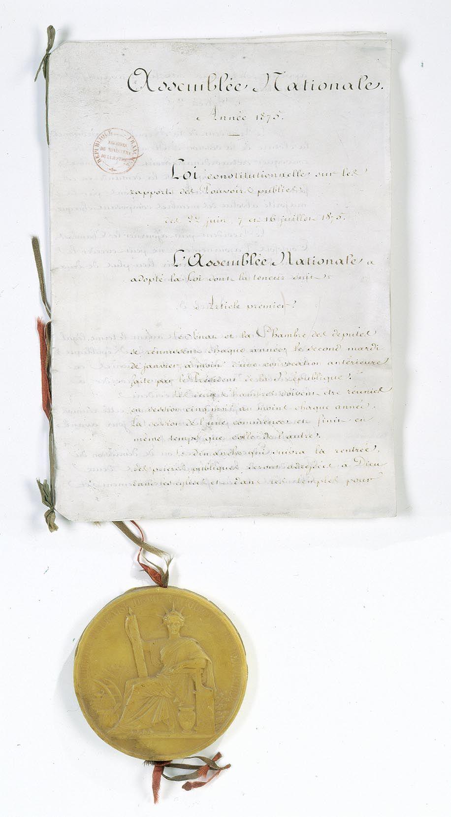 Constitution De 1875 Loi Constitutionnelle Des 22 Juin 7 Juillet Et 16 Juillet 1875 Relative Aux Rapports Des Pouvoirs Publics Loi 22 Juin Rapport