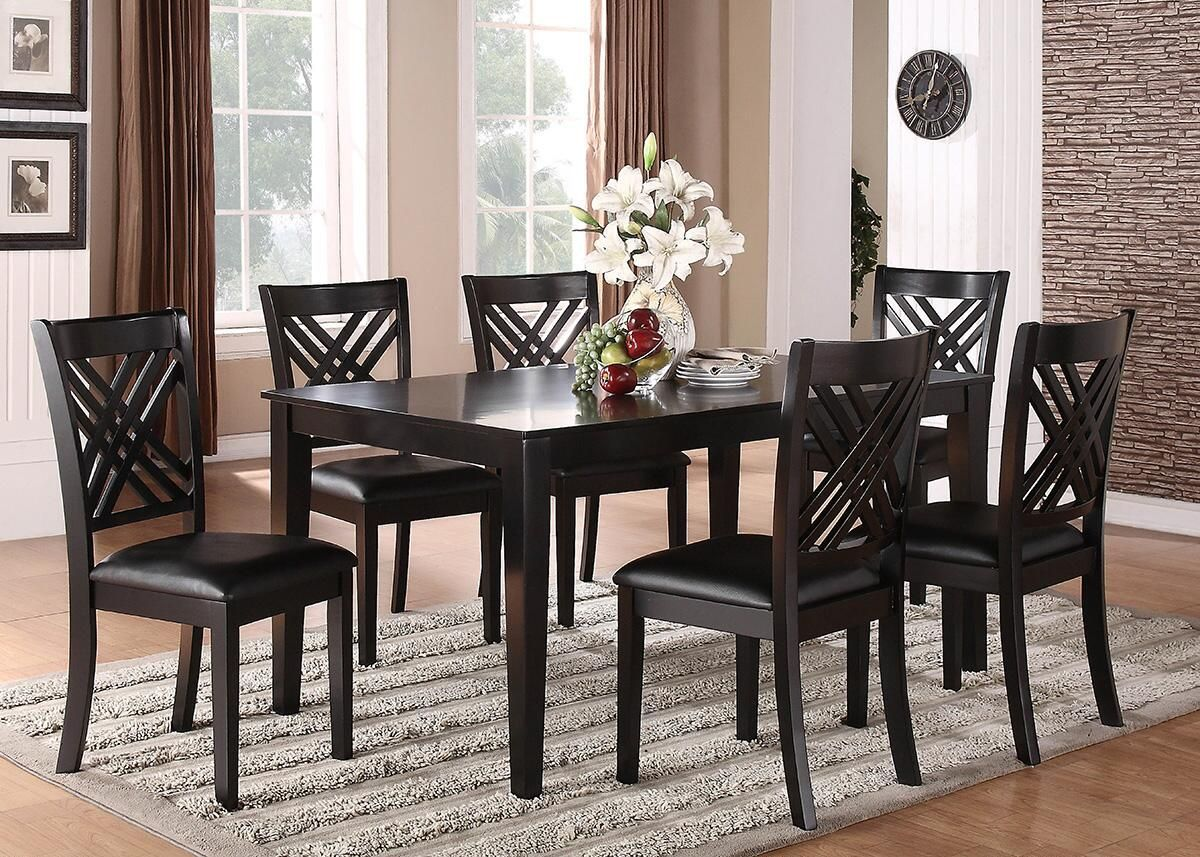 Lydia 7 Pc Dining Room Dining Room Table Black Dining Room