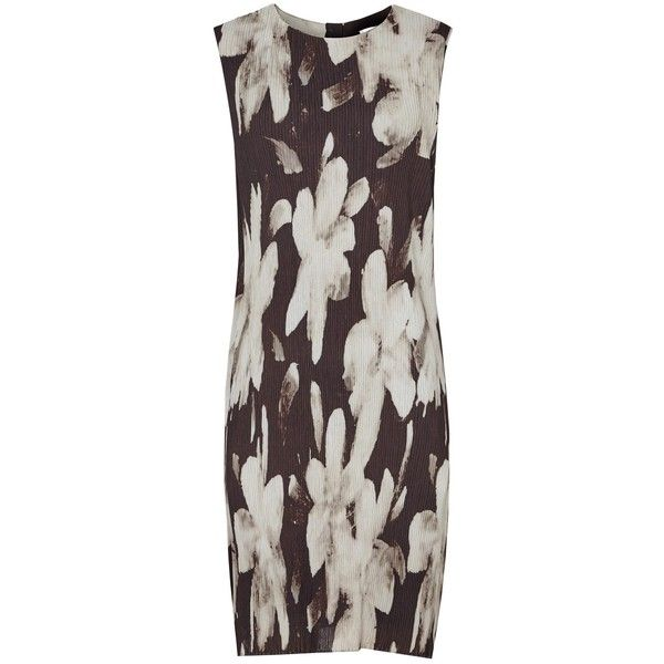 Reiss Devan Printed Plisse Dress, Black/Gold (115 BGN) ❤ liked on Polyvore featuring dresses, body con dress, gold maxi dress, gold dress, gold bodycon dress and floral print maxi dress