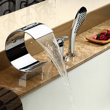Contemporary Waterfall Tub Faucet with Hand Shower - Chrome Finish ...