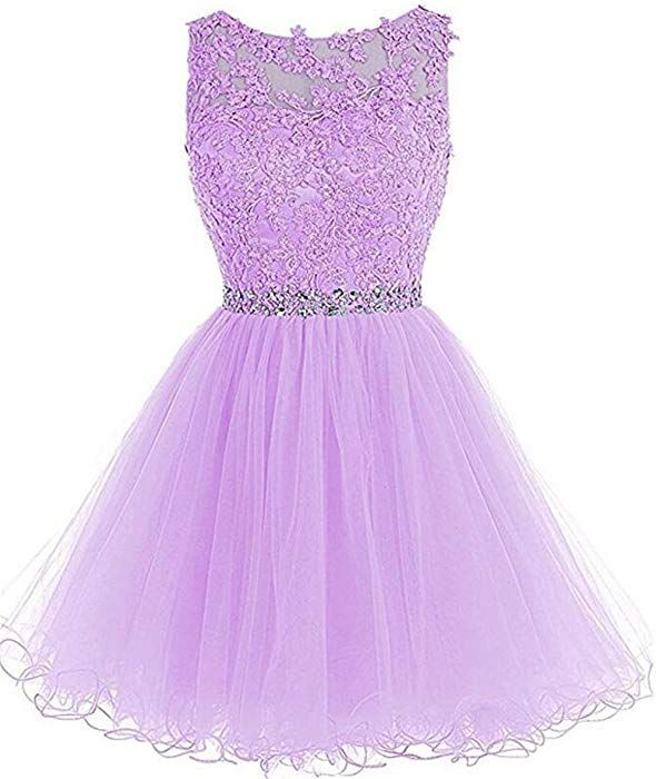 7b7922bb01 Dydsz Short Prom Dress for Women Teens Homecoming Dresses Beaded Party  Cocktail Gown D126 Lavender 2 at Amazon Women s Clothing store