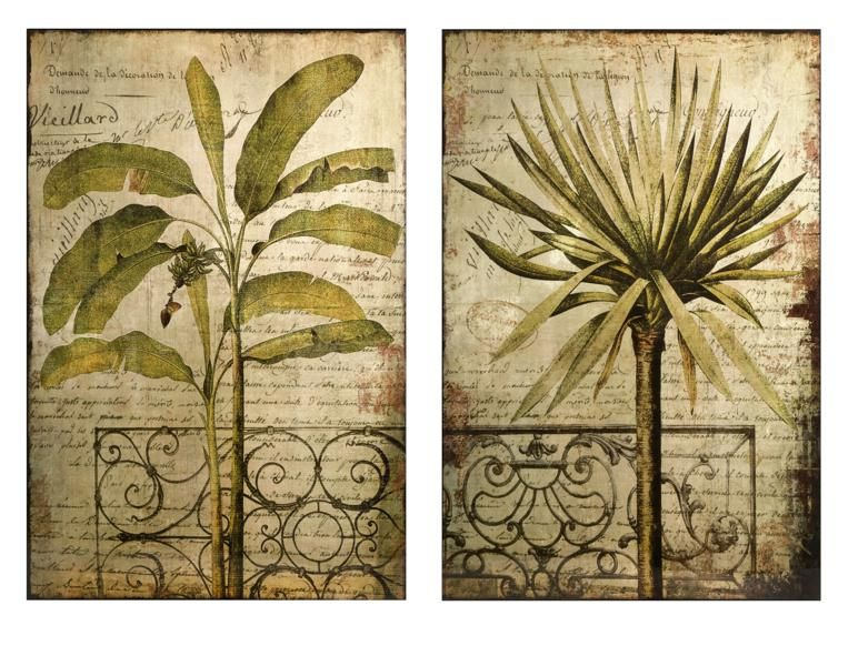 Antego Wall Decor - Tropical foliage set in a botanical rendering ...