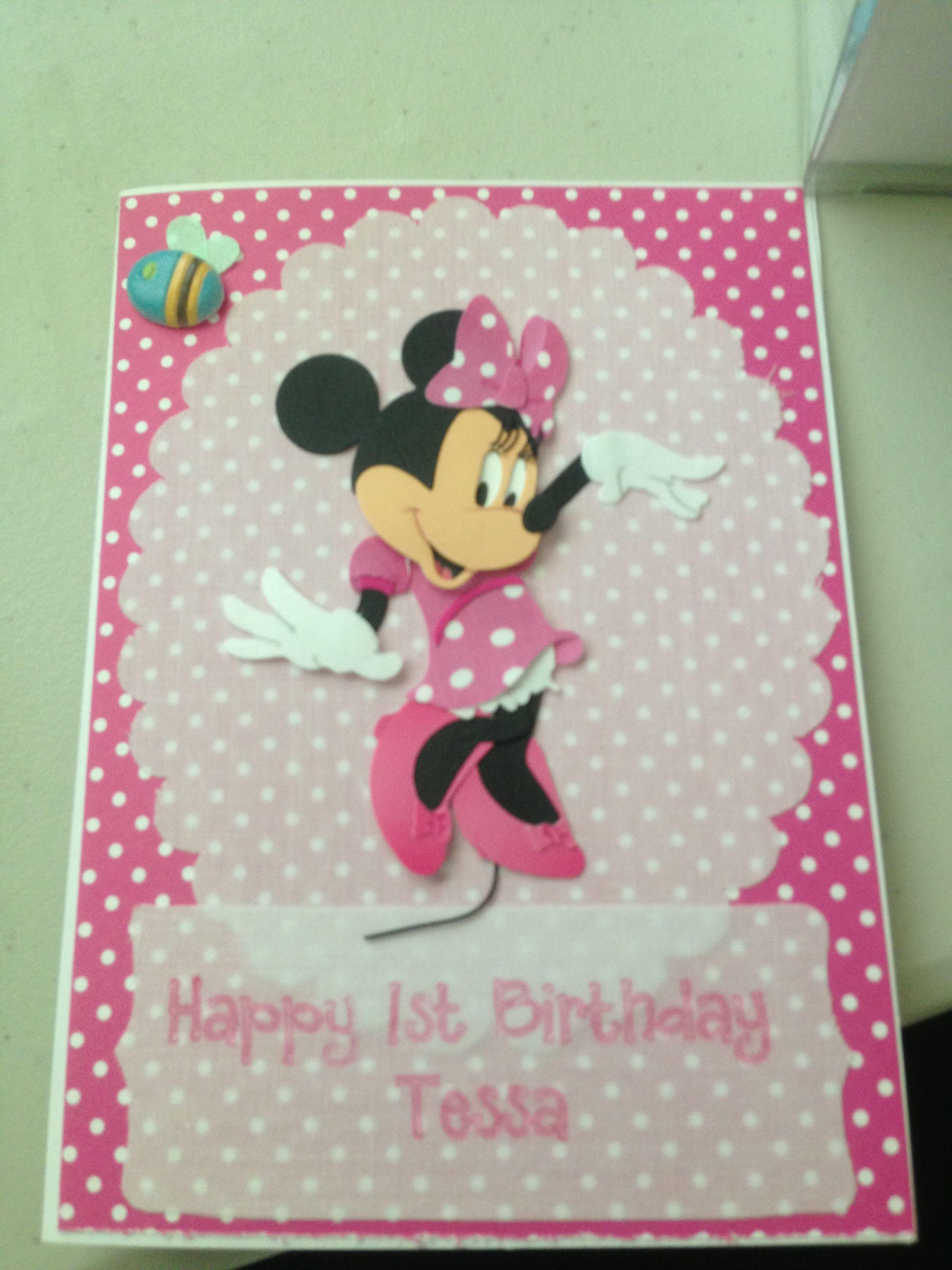 Cute Minnie Mouse Birthday Card Girl Birthday Cards Cricut Birthday Cards Homemade Birthday Cards