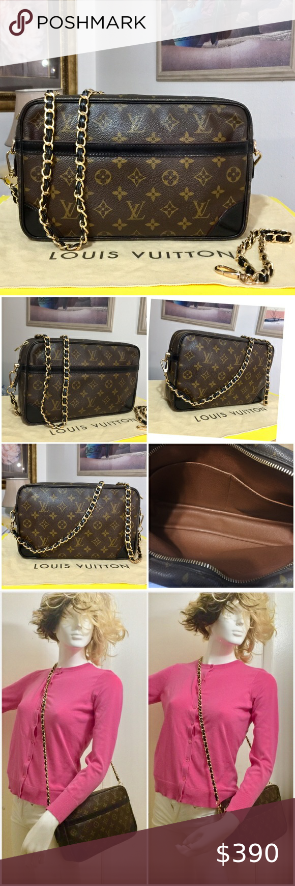 Louis Vuitton Compiegne 28 Shoulder Bag 💼 SL0812 Very good condition  Authentic LV Compiegne clutch bag Converted to Shoulder/Crossbody. Dyed leather trims in Black color. Date code: SL0912; France 🇫🇷 Gold strap:  47@long and 8mm thickness Size: 11 x 2.5 x 6 Condition: Monogram canvas in very good shape; interior compartment is clean and no foul odor;pockets sticky linings were removed and cleaned; slightly tarnished hardware;zipper works perfectly;minor scratches on leather trims; COMES WIT: