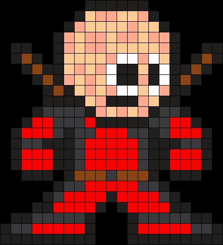 Unmasked Deadpool Perler Bead Pattern / Bead Sprite | Charts ...