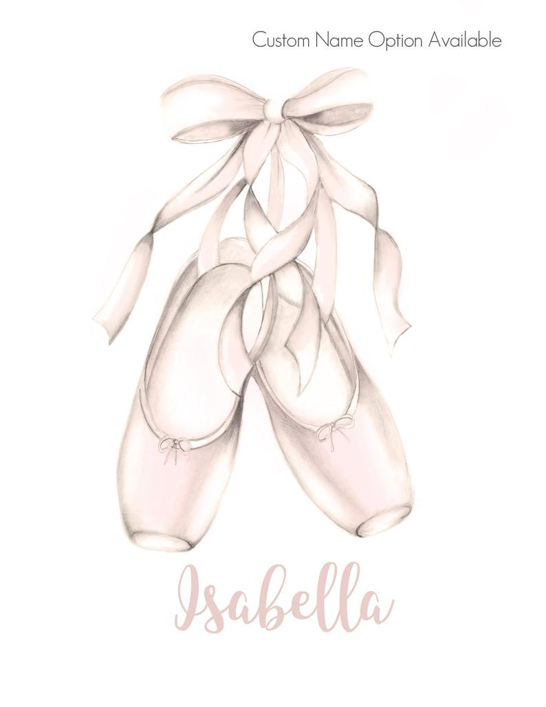 Ballet Print Personalized Dance Art Ballerina Picture Gift Etsy In 2020 Ballet Shoes Ballet Shoes Drawing Dance Art