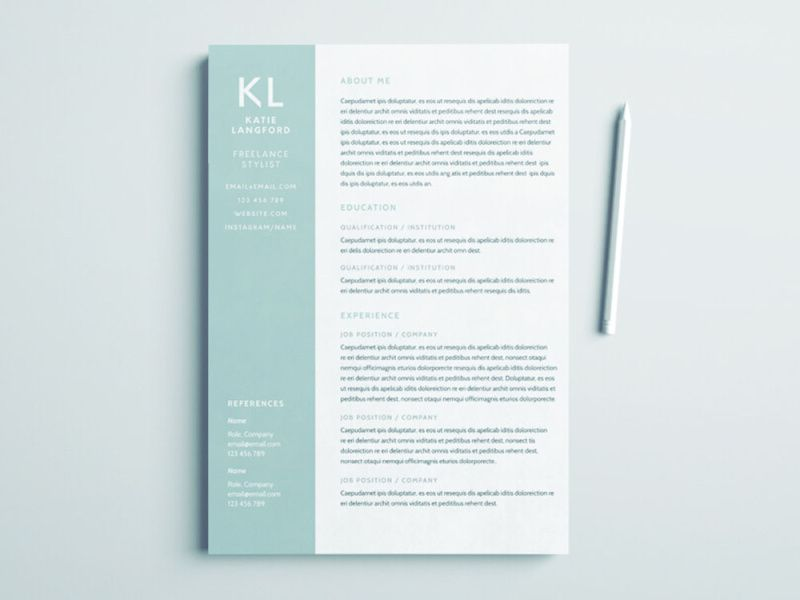 Free freelance stylist resume template