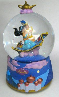 Aladdin And Jasmine On Magic Carpet Musical Snowglobe Snow Globes Disney Snowglobes Musical Snow Globes