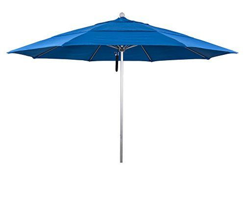Eclipse Collection 11' Fiberglass Market Umbrella PO DVent Silver Anodized/Olefin/Royal Blue