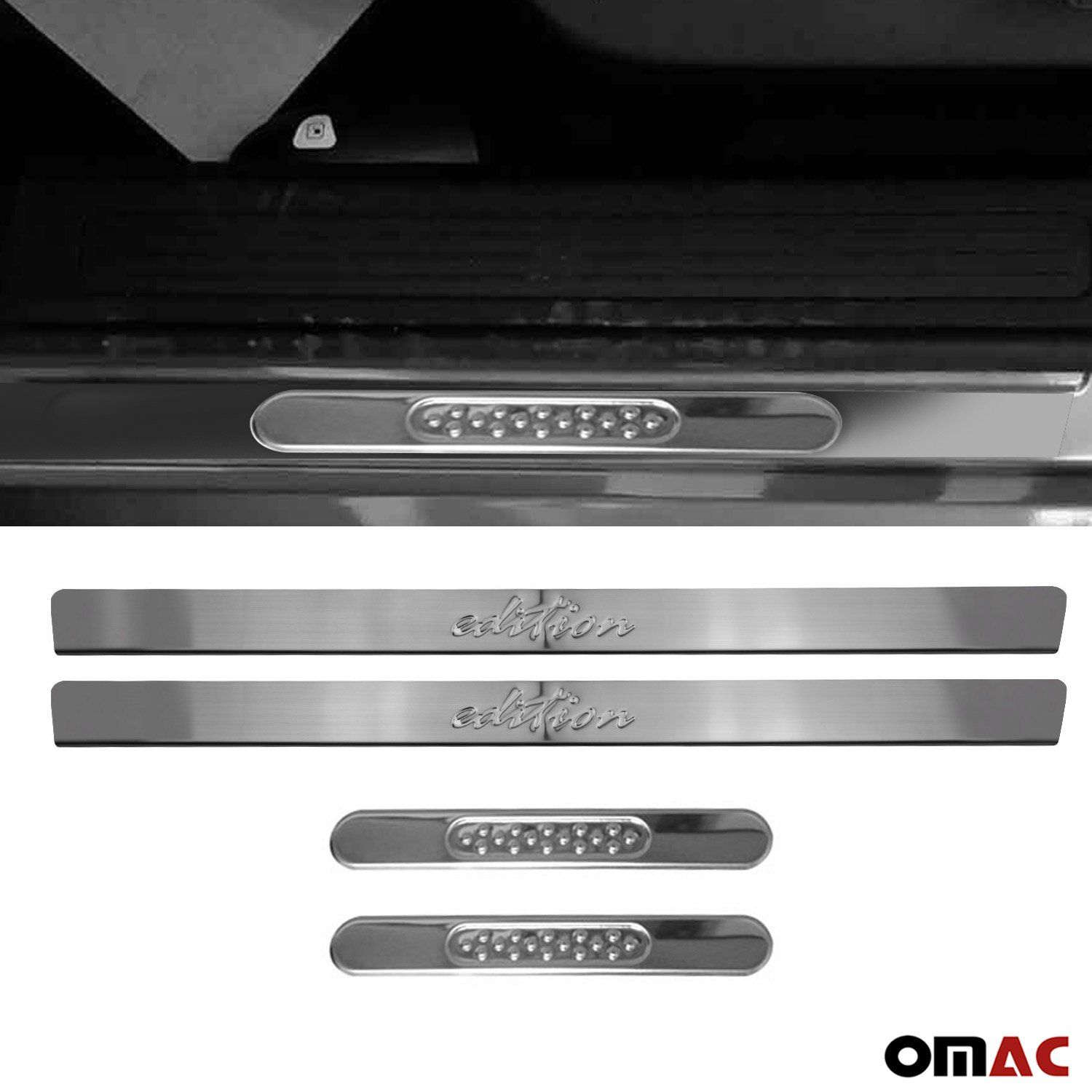 530+Chrome Pointsill Door Sill Cover Front Edition Logo Steel 4 Pcs For Ford Escape