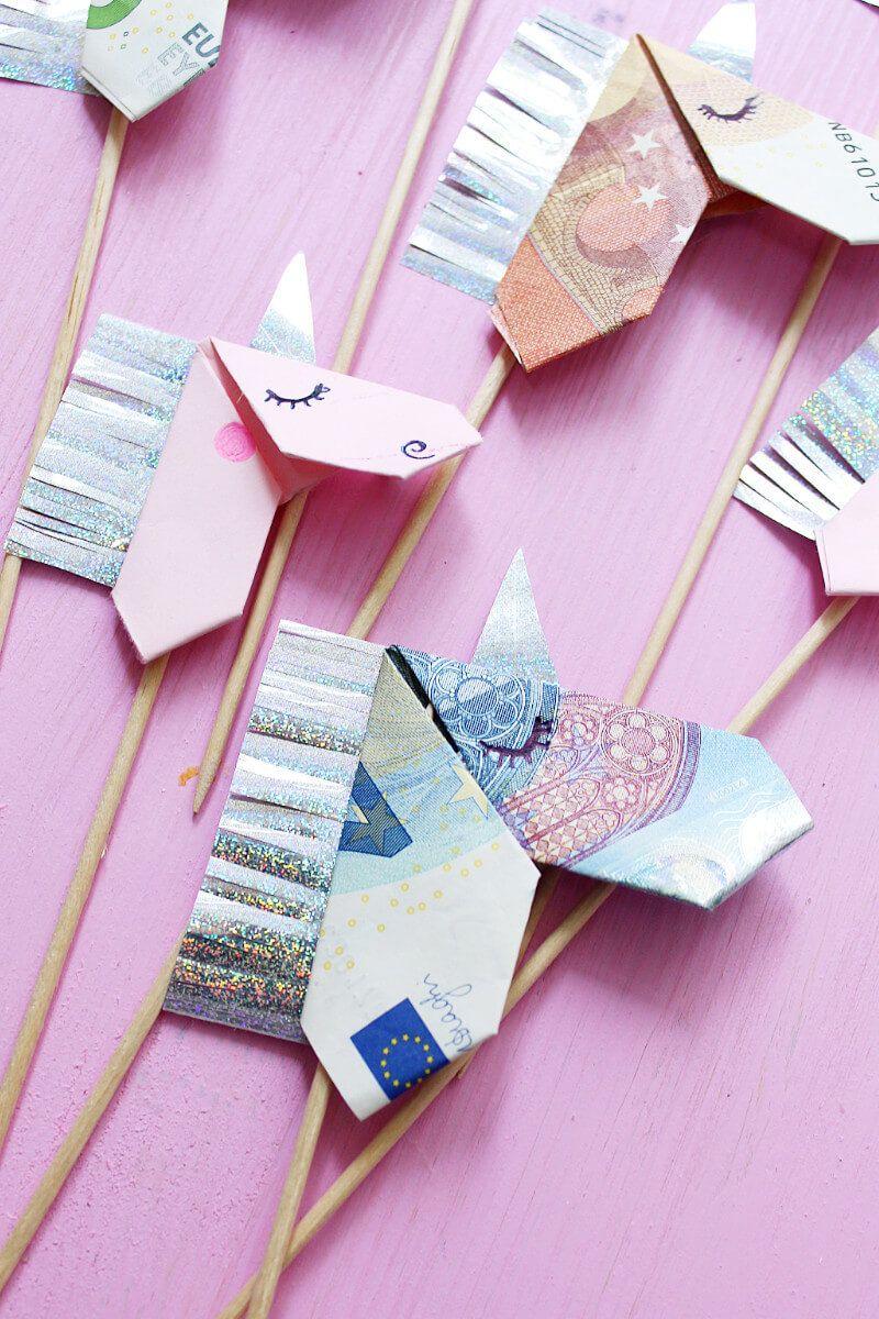 geldscheine kreativ zum origami einhorn falten diy anleitung origami diy ideas and kirigami. Black Bedroom Furniture Sets. Home Design Ideas