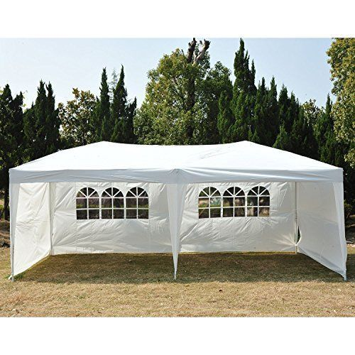 Outsunny Easy Pop Up Canopy Party Tent 10 X 20 Feet White With 4 Removable Sides Pop Up Canopy Tent Outdoor Tent Canopy Tent