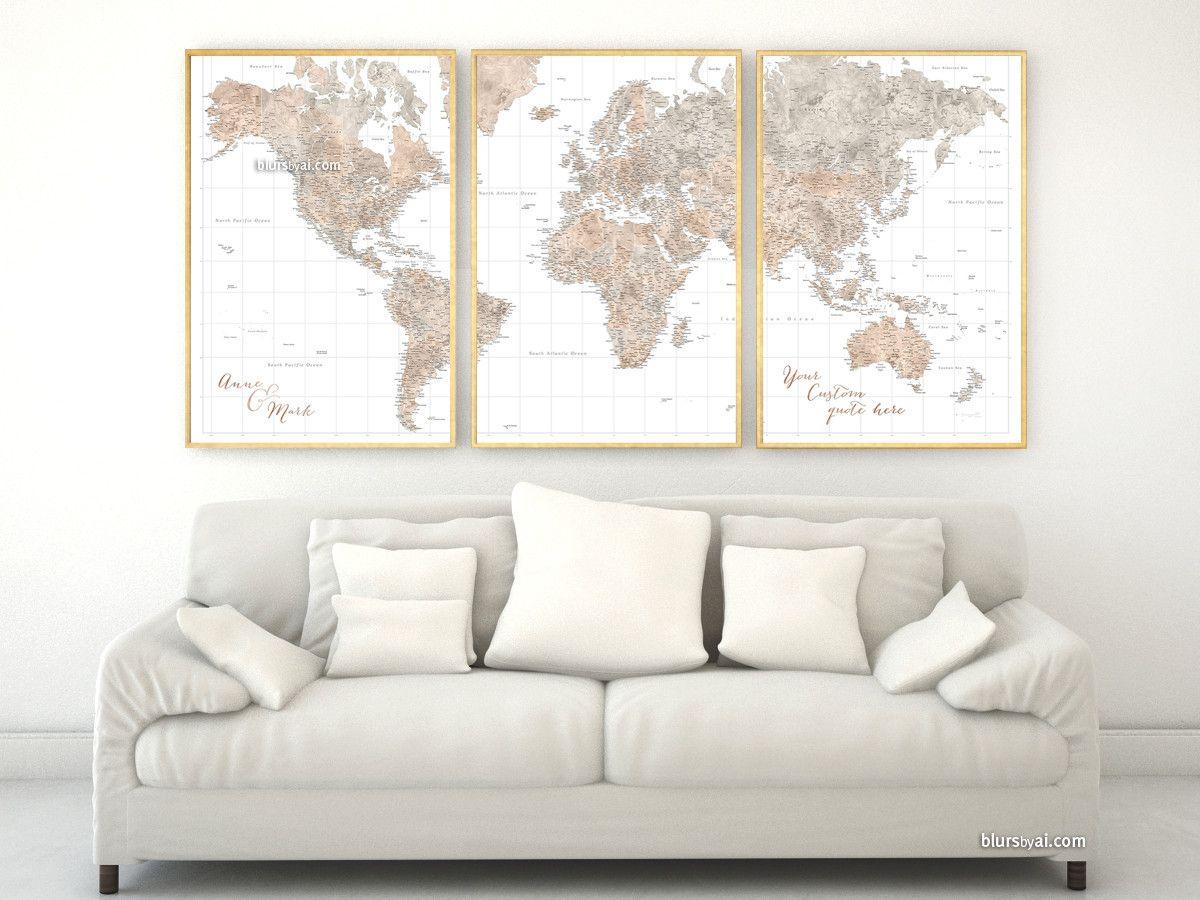 "Custom quote - highly detailed world map printable in neutral watercolor, set of 3 split panels in 24x36"" each #cream #AnniversaryGift #3SplitPostersWorldMap #ArtPrint #brown #BlackAndWhite #3PanelsWorldMap #custom #3SplitPosters #anniversary"