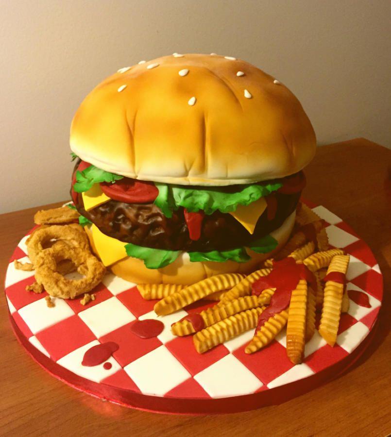 Giant Hamburger cake, fries and onion rings - Cake by Cincinnati37 ...