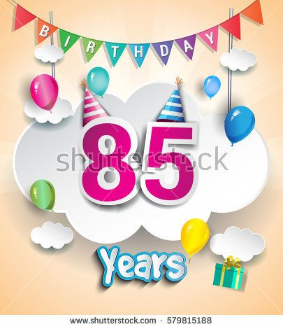 85th anniversary celebration design with clouds and balloons using paper art design style
