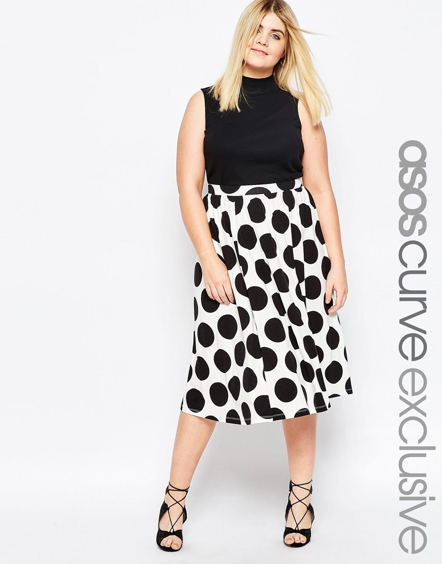 d6b74b1bb0 ASOS+CURVE+Midi+Skater+Skirt+In+Spot+Print