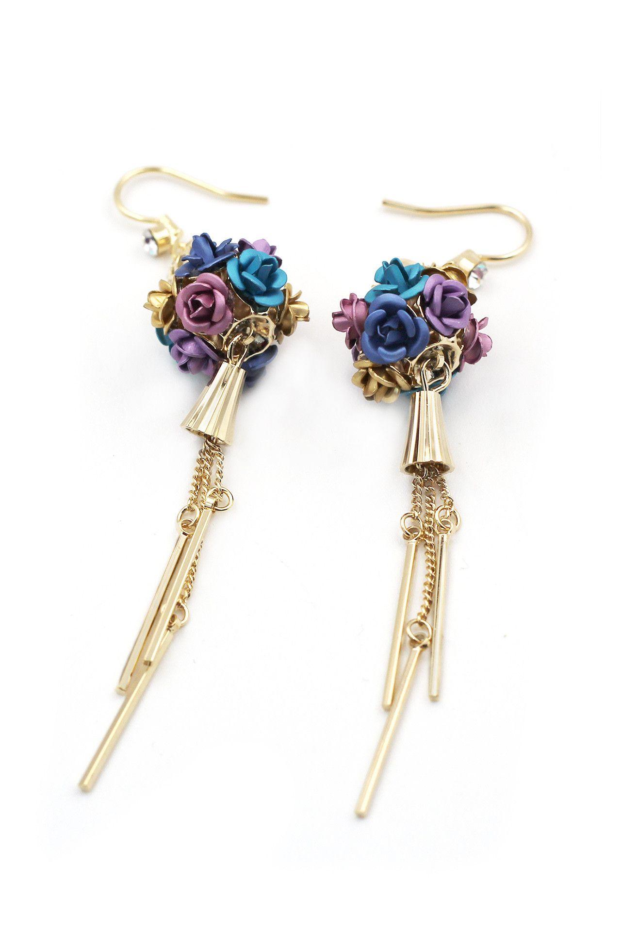 Fashion bouquet gold earrings