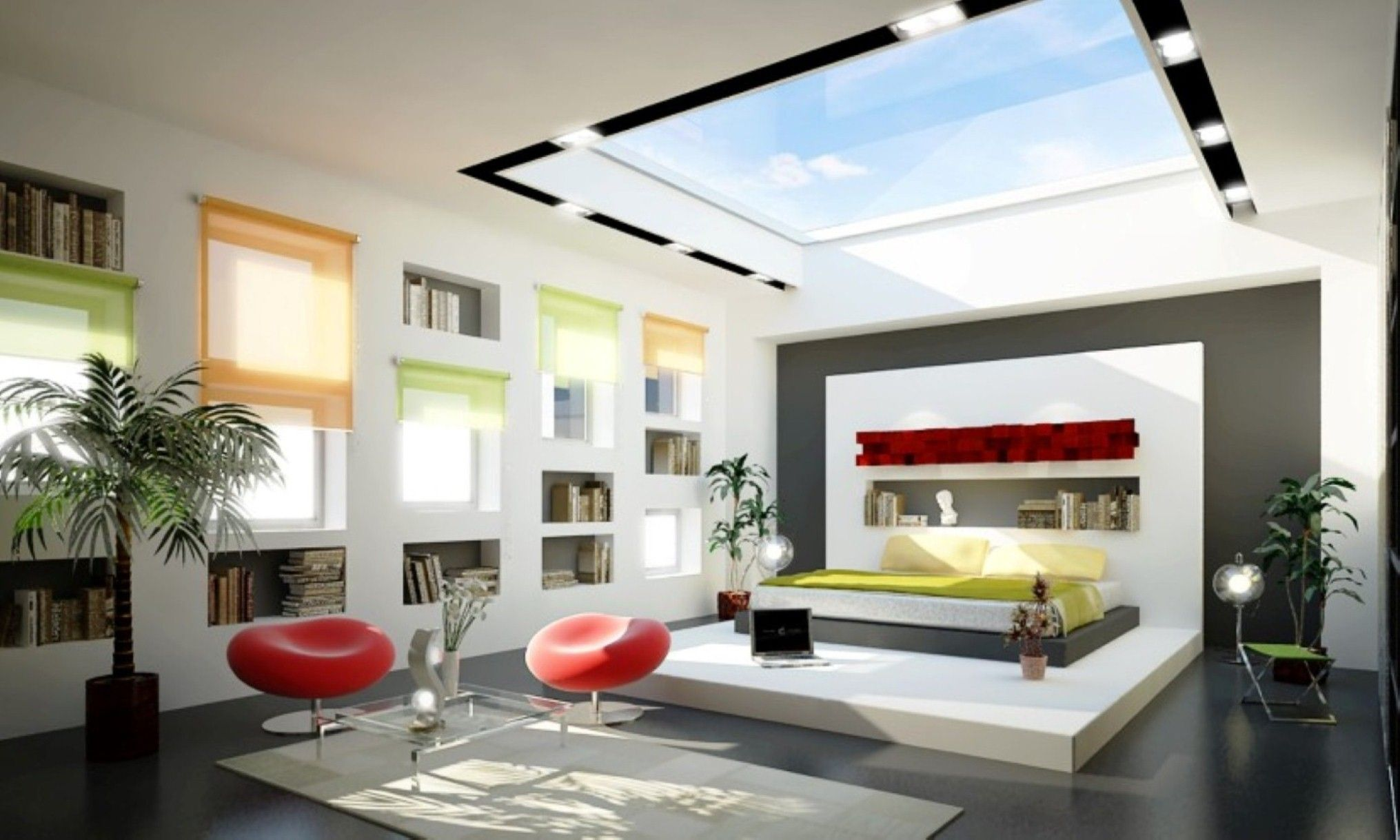 Natural Red Swivel Chairs And Wall Niche Bookshelves Feat Glass