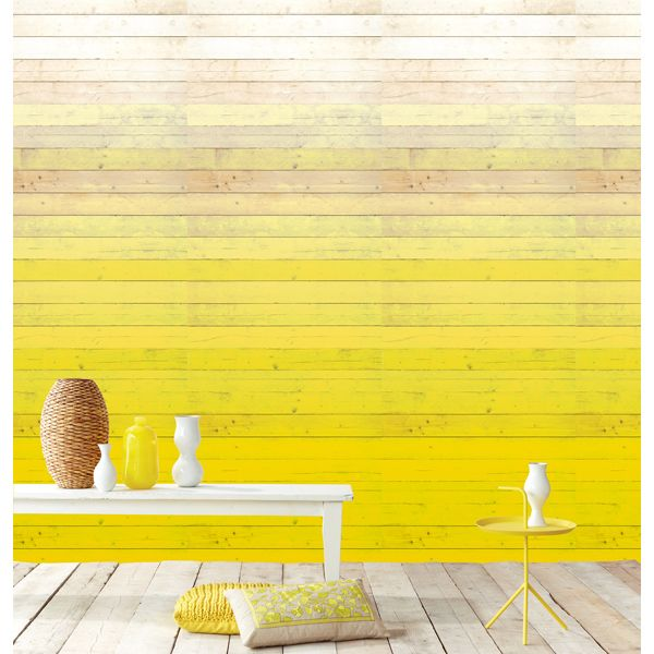 An ombre efffect wall mural with rustic wood panels in a vivid sunny ...