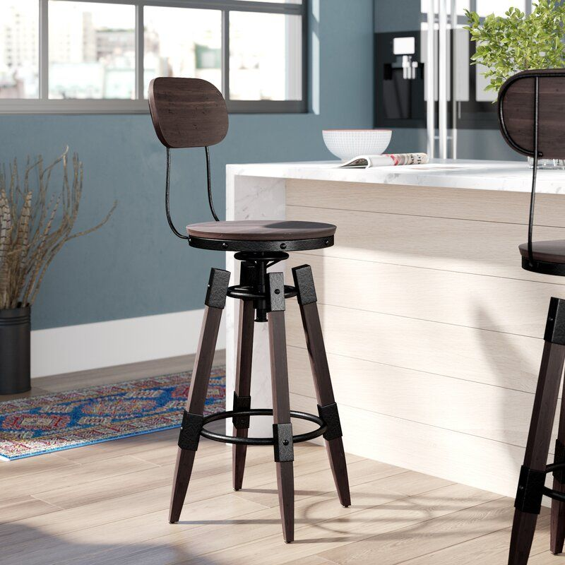 Excellent Bingaman Vintage Adjustable Height Swivel Bar Stool New Frankydiablos Diy Chair Ideas Frankydiabloscom