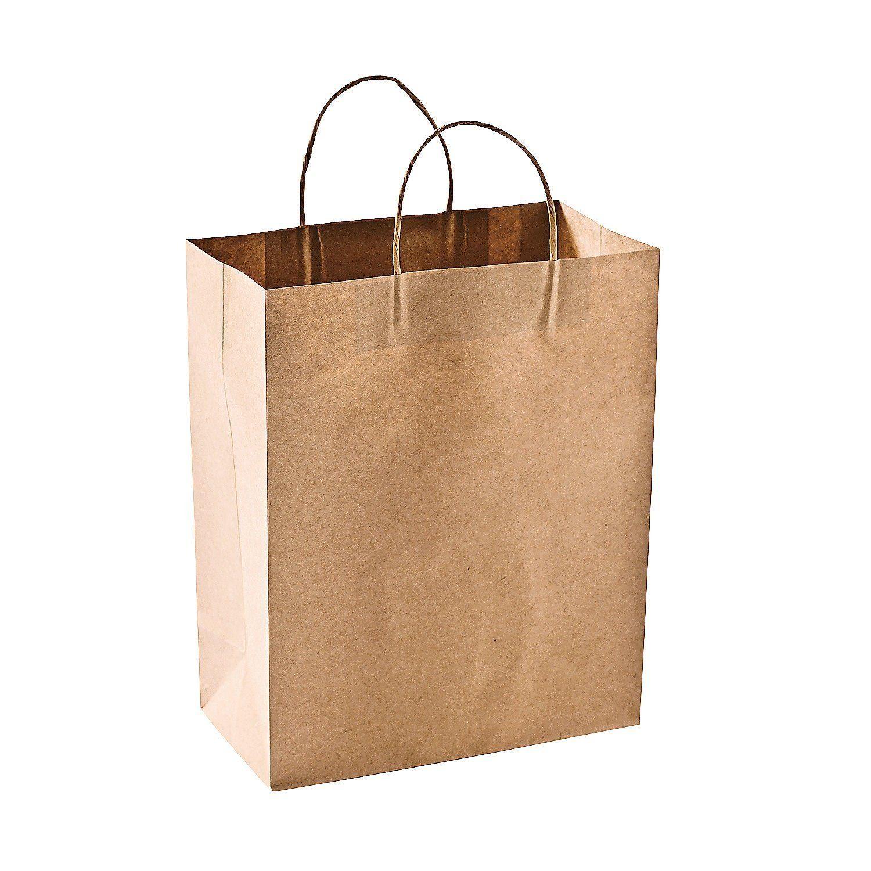 "Craft Gift Bags Brown Paper 1 dozen 10"" x"