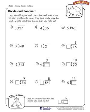 Worksheets Math Division Worksheets 4th Grade divide and conquer free math worksheet for kids smart 4th grade