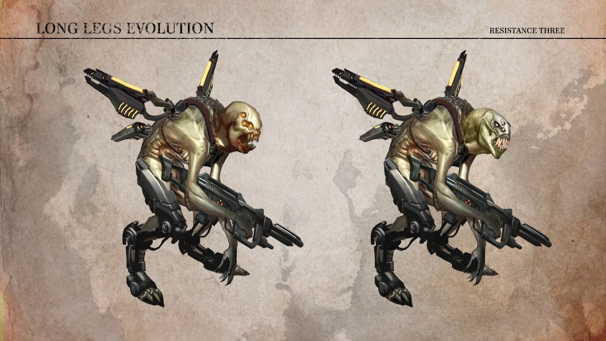 Long Legs Evo Game Resistance 3 Character Art Concept Art Digital The Falling Man