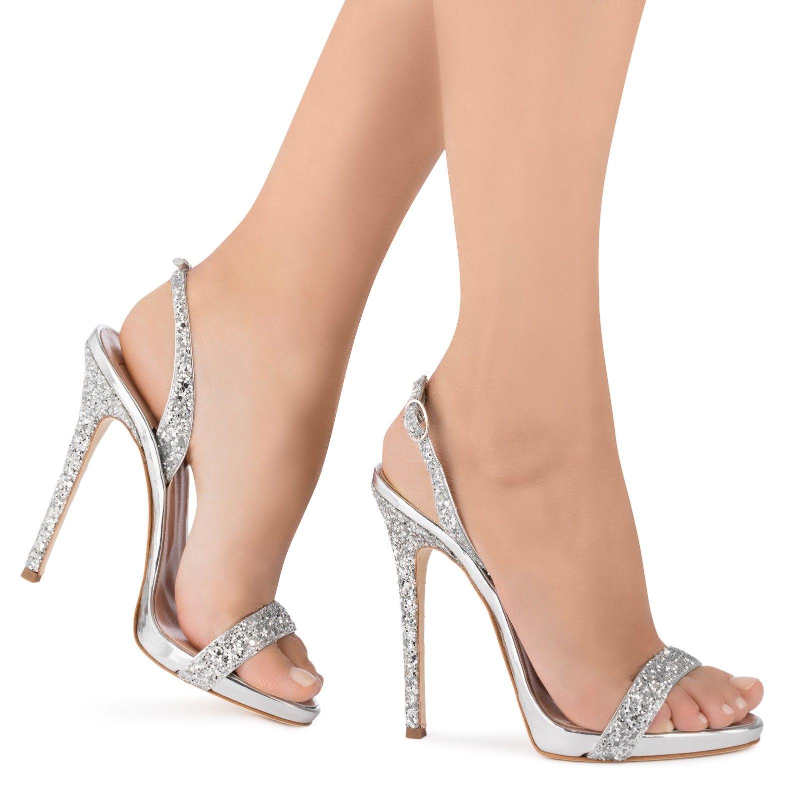 01325550f SOPHIE GLITTER - Sandals - SILVER - Giuseppe Zanotti