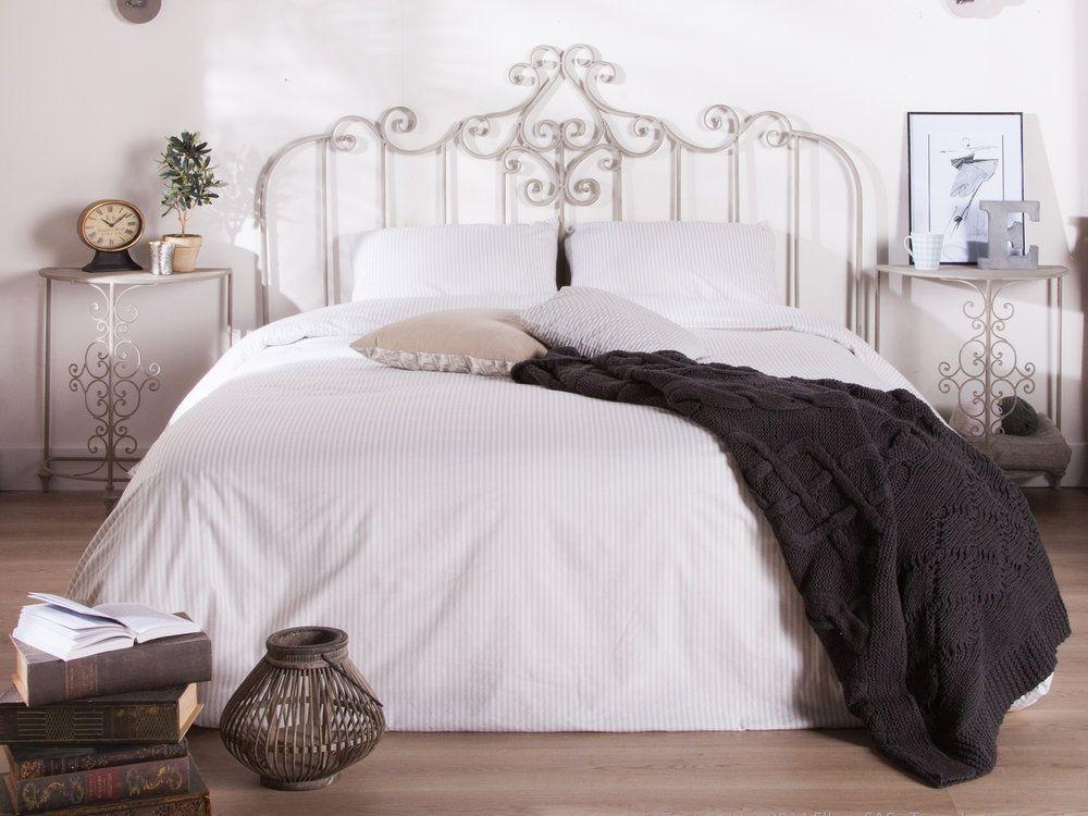 Tête de lit en étal gris patiné 160x120cm ANASTASIA Chambre